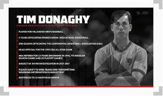 infographic showing a timeline of the life of tim donaghy