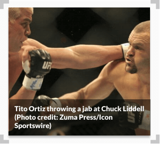 Photo of Tito Ortiz throwing a jab at Chuck Liddell