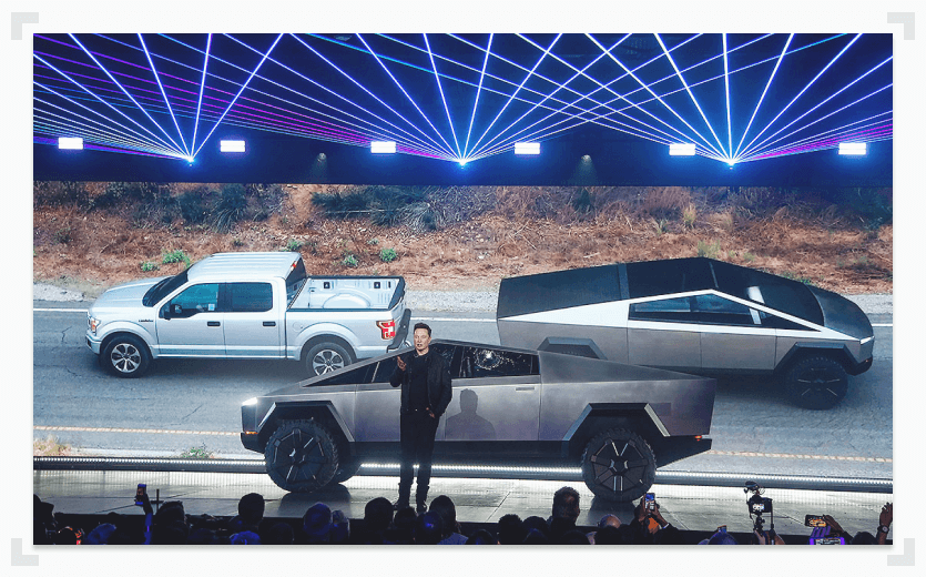 Cybertruck vs F-150 tug of war with Elon Musk in foreground