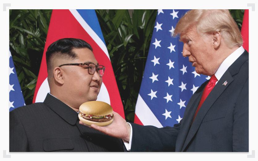 Trump serving Kim Jong-Un a burger