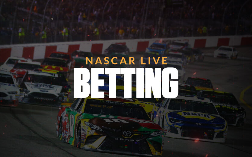 NASCAR live betting text overlay on stock car race