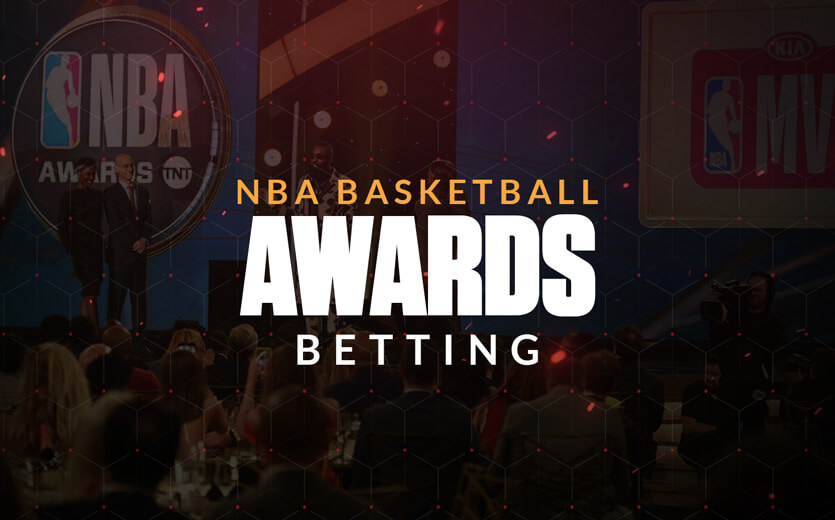 NBA basketball awards betting text overlay on basketball image