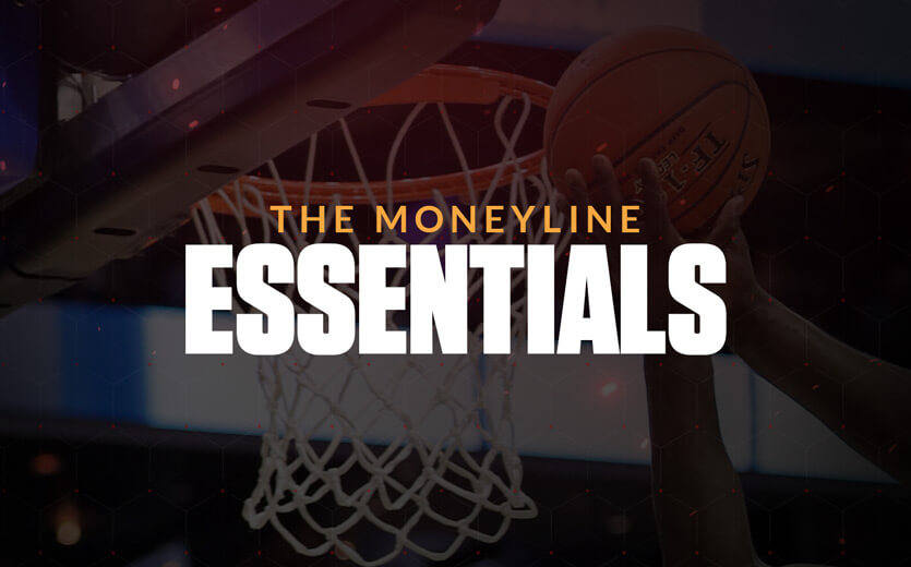The moneyline essentials text overlay on basketball image