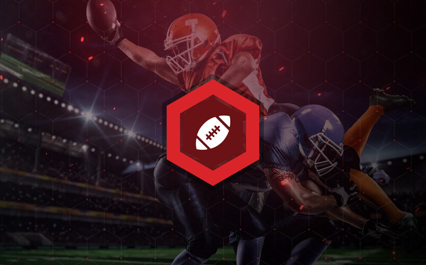 Football betting icon overlaid on NFL image