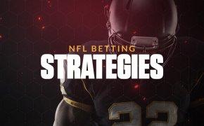 NFL betting strategies text overlay on football image