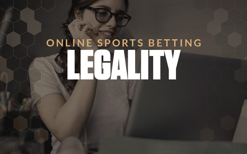 Online sports betting legality text overlay on woman working on laptop
