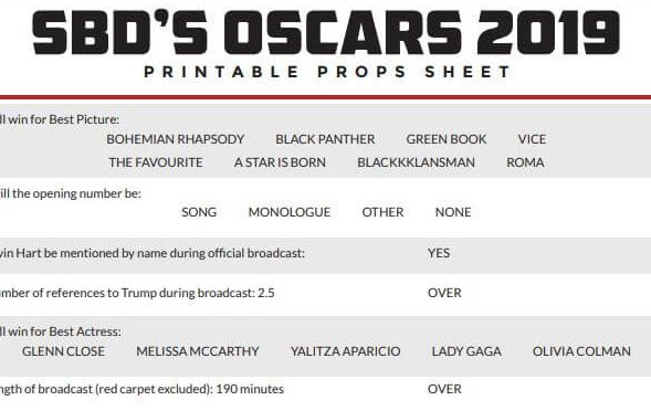 Printable Oscars Prop Sheets For 2019 Academy Awards