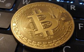 Bitcoin on a computer keyboard
