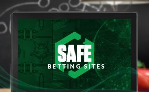 safe betting sites text overlay on laptop