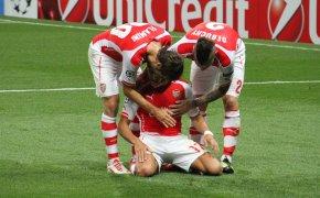 Alexis Sanchez celebrates a goal for Arsenal