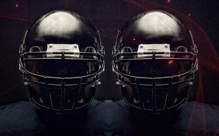 dual lines football helmet