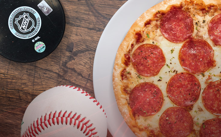 grand salami pizza baseball hockey puck