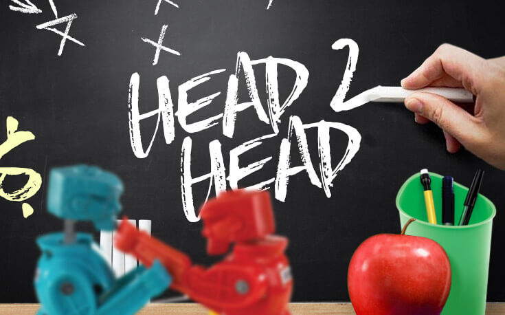 head 2 head boxing apple chalkboard chalk