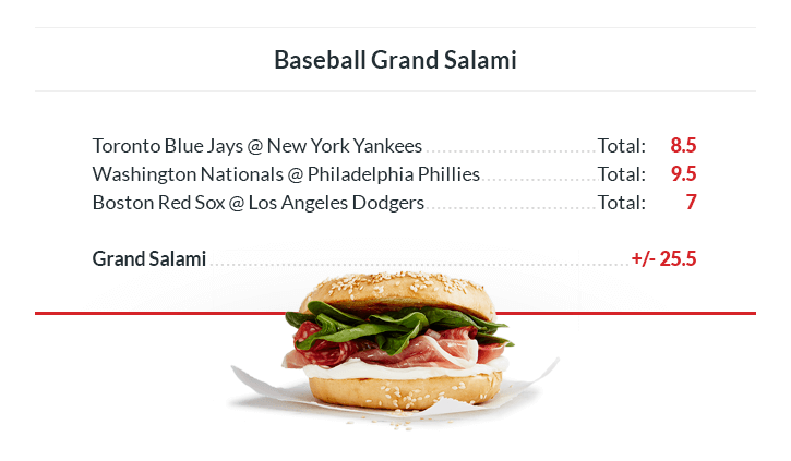 grand salami baseball sandwich odds on totals for all MLB games