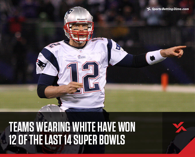 Tom Brady wearing a white Patriots jersey