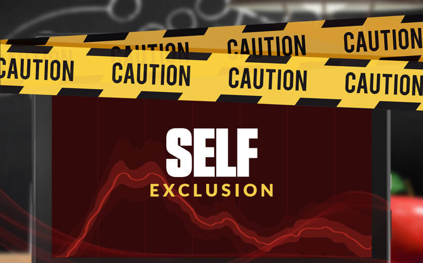 self exclusion text overlay on laptop with caution tape