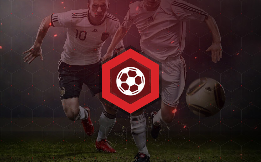 Soccer betting icon overlaid on soccer image