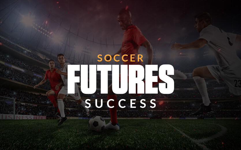 Soccer futures success text overlay on soccer celebration image