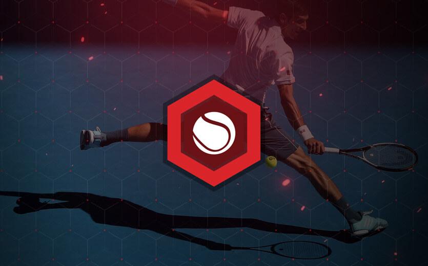 Tennis betting icon overlaid on tennis image