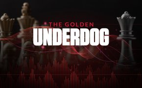 The golden underdog text overlay over chess pieces