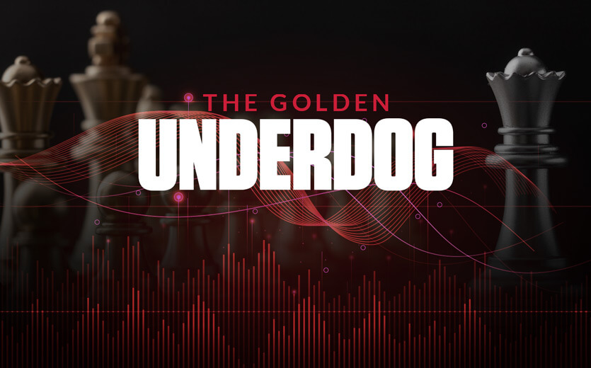 The golden underdog text overlay