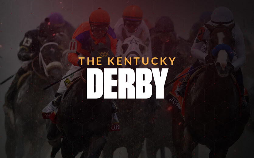 The Kentucky Derby text overlay on horse racing image