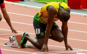 Usain Bolt on the starting blocks.